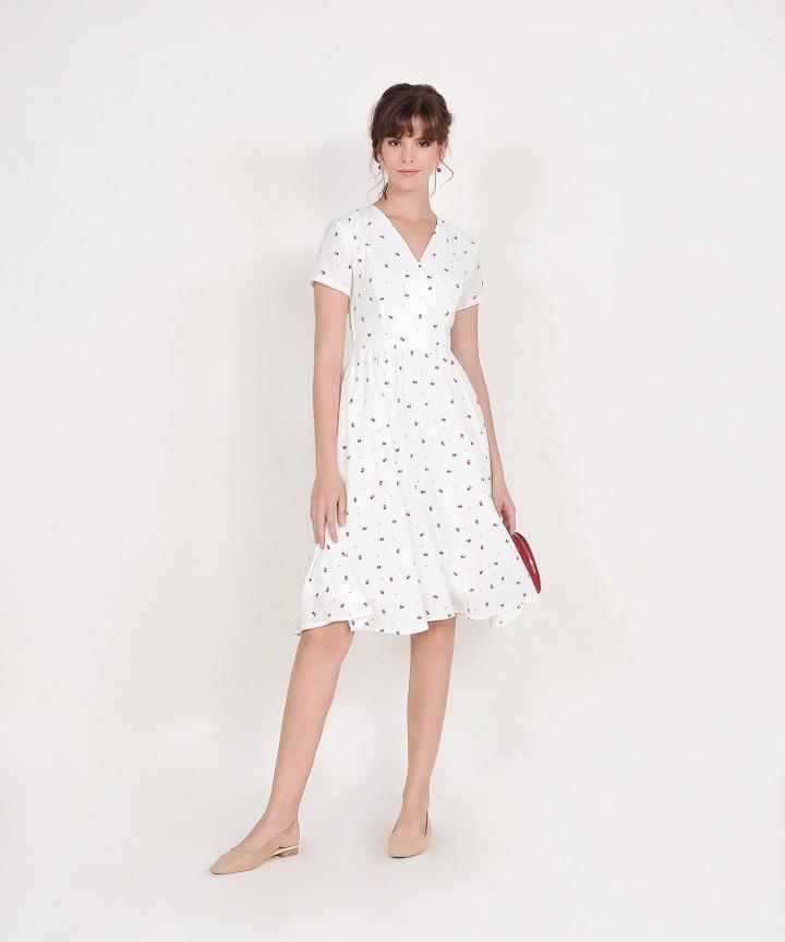 Emelia Floral Overlay Midi - White (Backorder)
