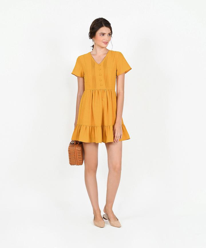 Felicity Gathered Dress - Marigold