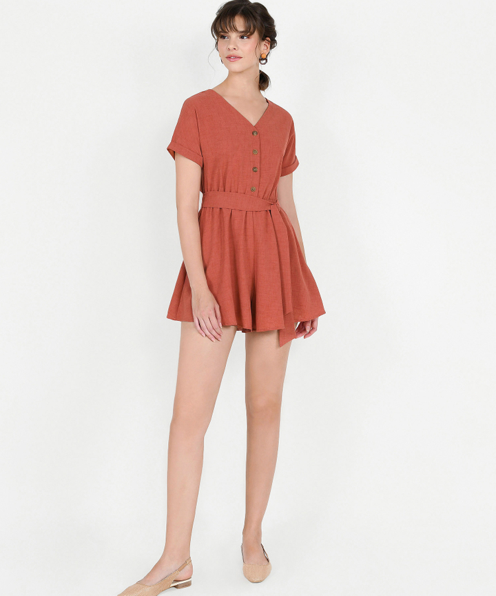 Devyn Playsuit - Terracotta