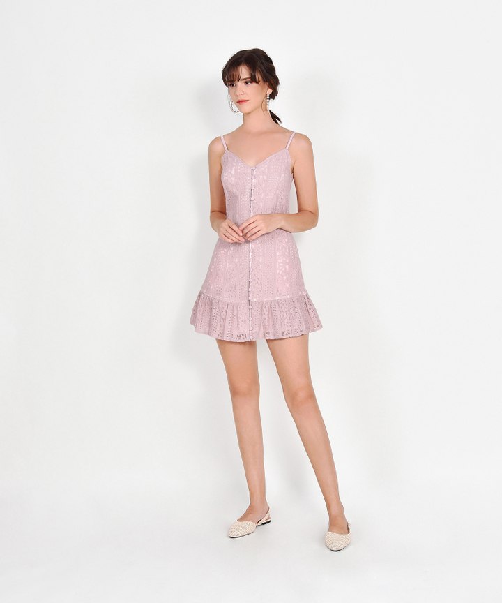 Joelle Lace Mini Dress - Dust Pink