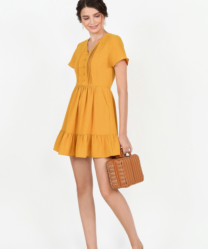 Felicity Gathered Dress - Marigold