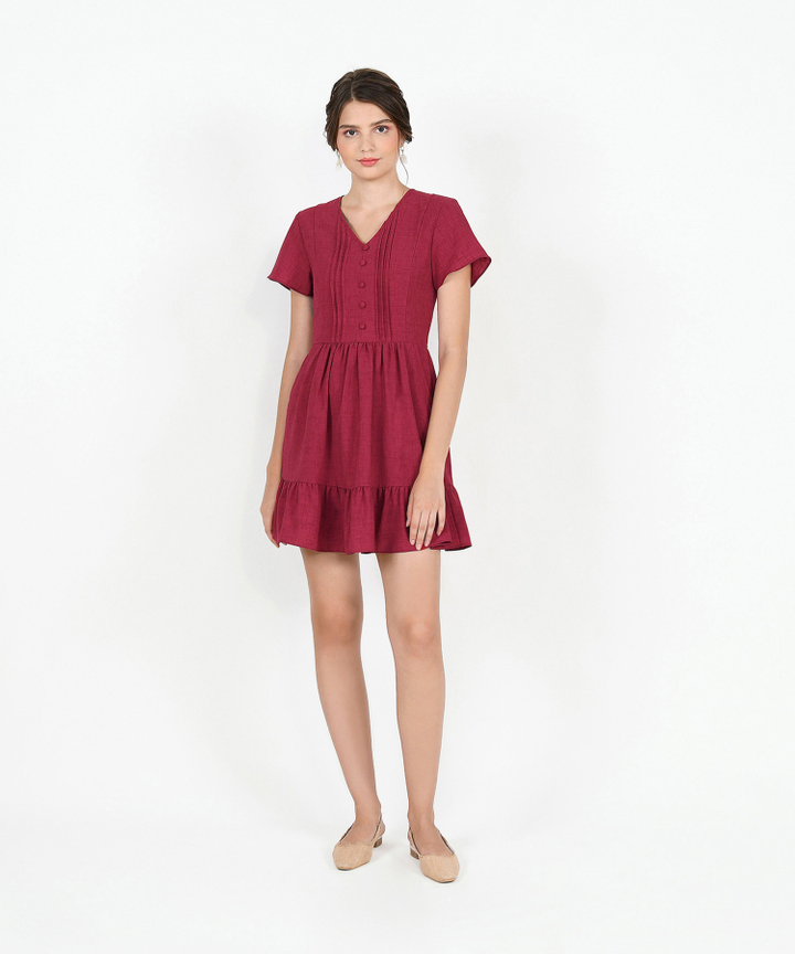 Felicity Gathered Dress - Ruby