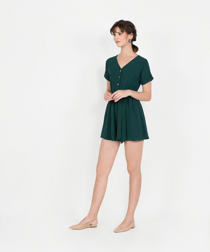 Devyn Playsuit - Forest Green