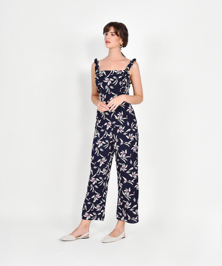 Rebecca Floral Ruffle Jumpsuit - Navy