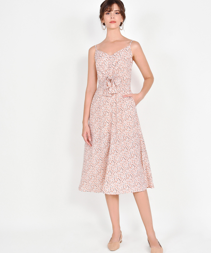Calista Printed Midi - Pale Peach