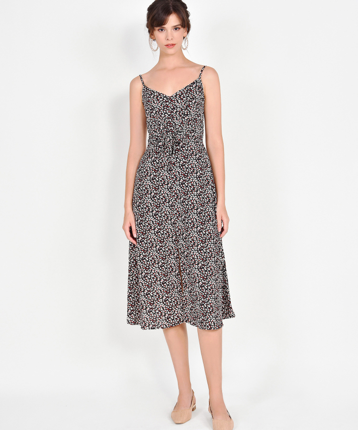 Calista Printed Midi - Black