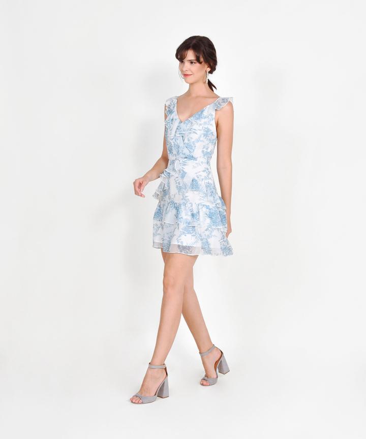 Flair Floral Ruffle Dress - Blue