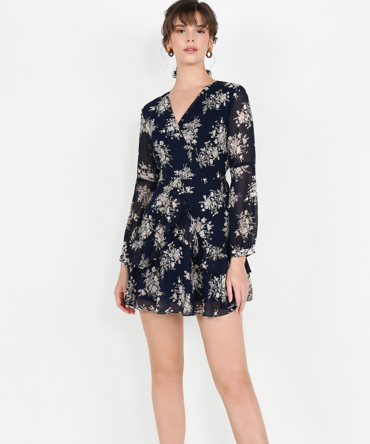 Lucienne Floral Ruffle Dress - Midnight Blue