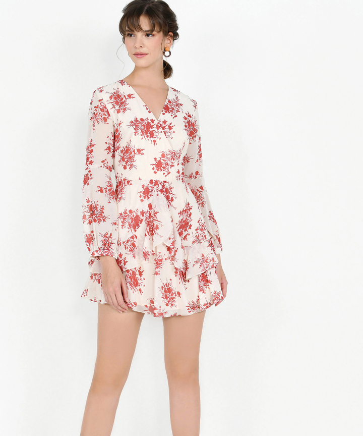 Lucienne Floral Ruffle Dress - Red