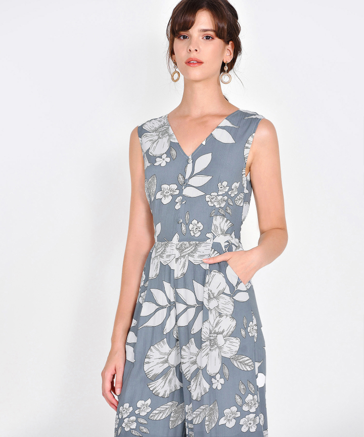 Elia Floral Jumpsuit - Grey