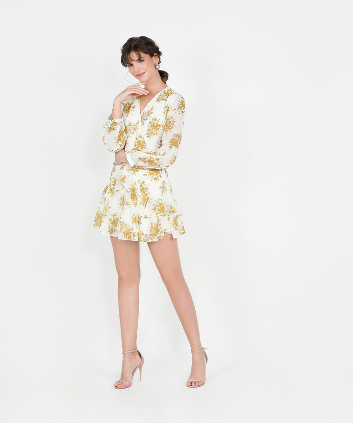 Lucienne Floral Ruffle Dress - Mustard
