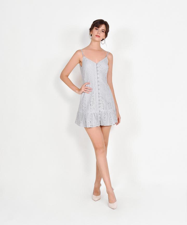 Joelle Lace Mini Dress - Mist Grey