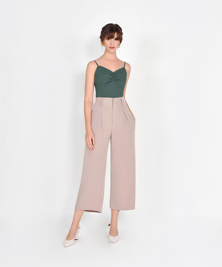 Cora Ruched Camisole - Hunter Green