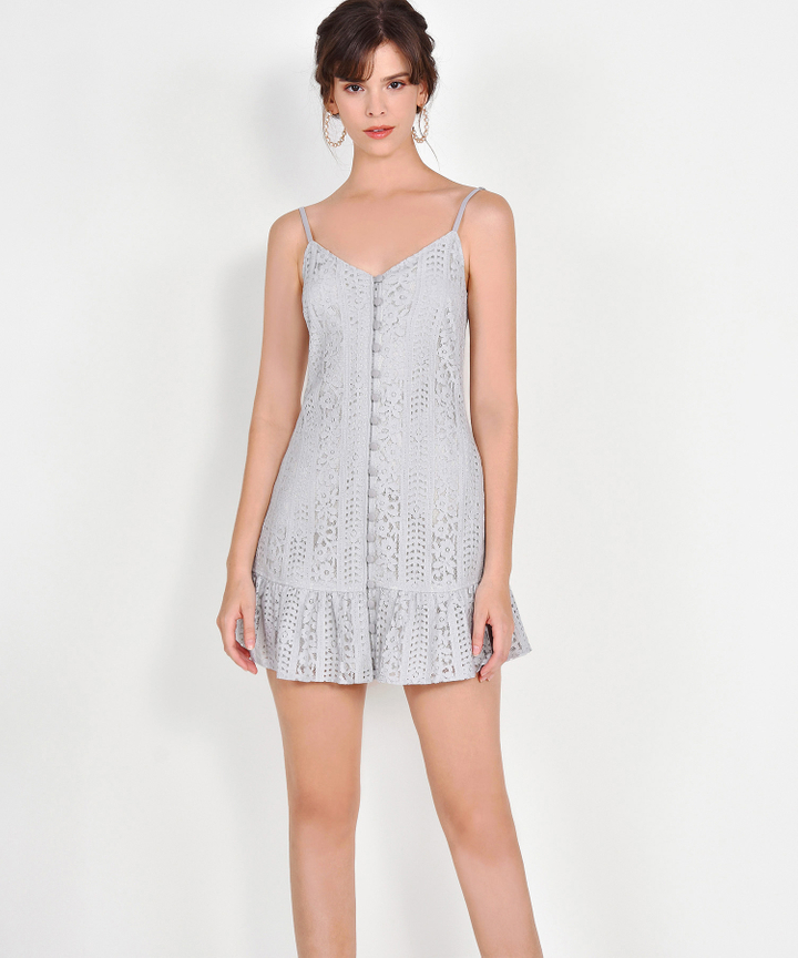 Joelle Lace Mini Dress - Mist Grey