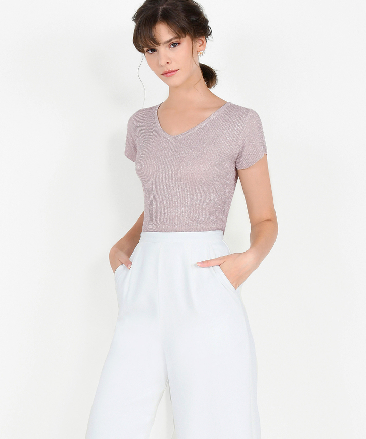 Iris Shimmer Knit Top - Pale Mauve
