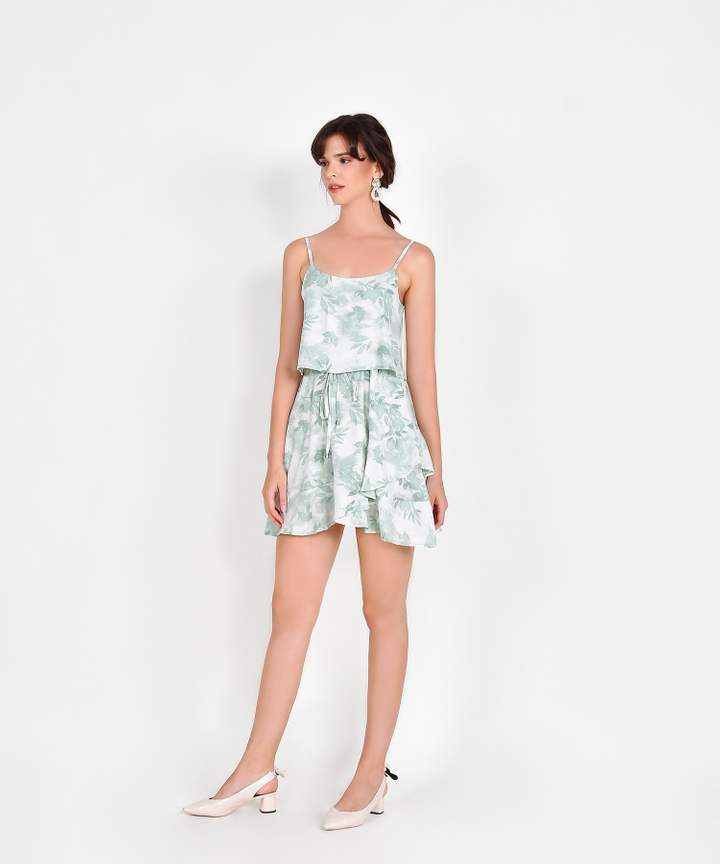 Elina Watercolour Drawstring Dress - Pale Seafoam
