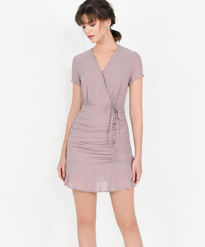 Willow Textured Ruched Dress - Dust Pink