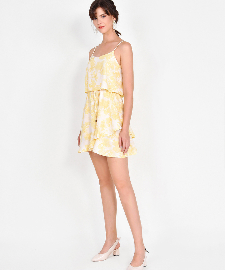 Elina Watercolour Drawstring Dress - Yellow