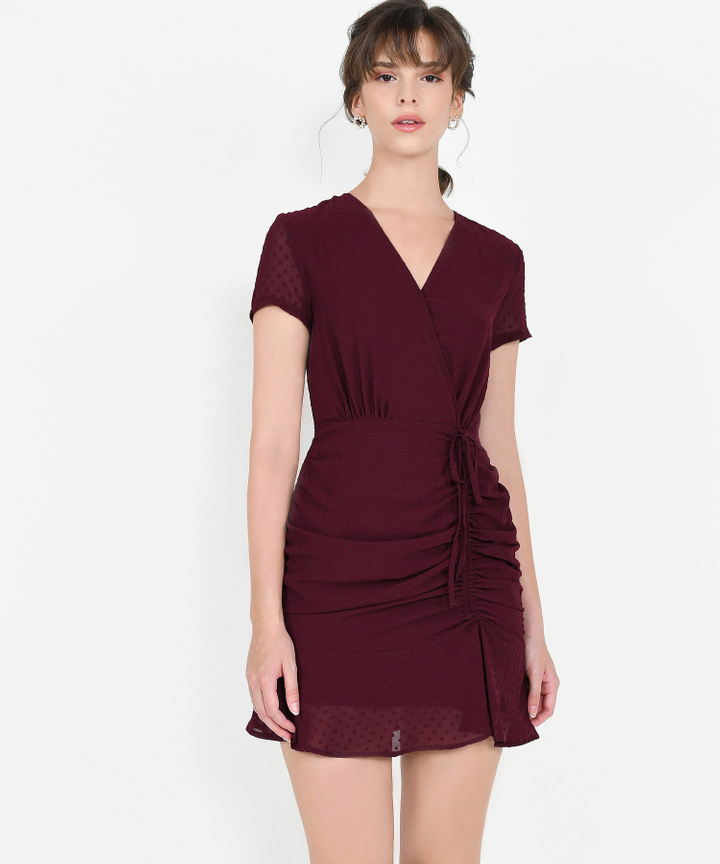 Willow Textured Ruched Dress - Wine (Backorder)