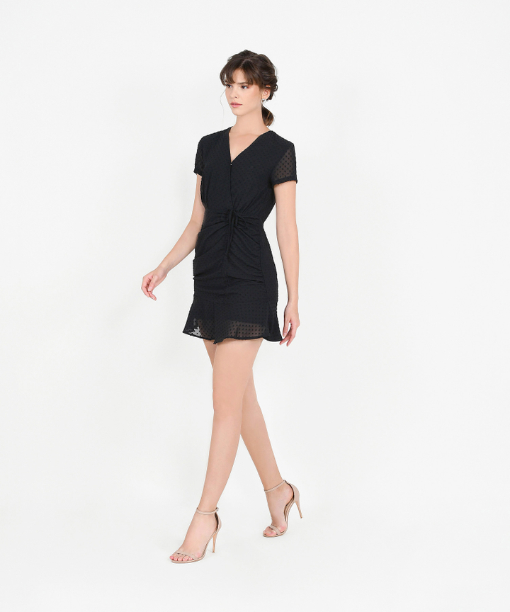 Willow Textured Ruched Dress - Black (Backorder)