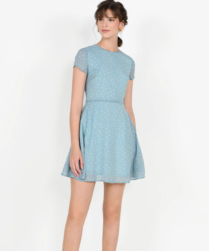 Natalia Printed Mini Dress - Pale Blue