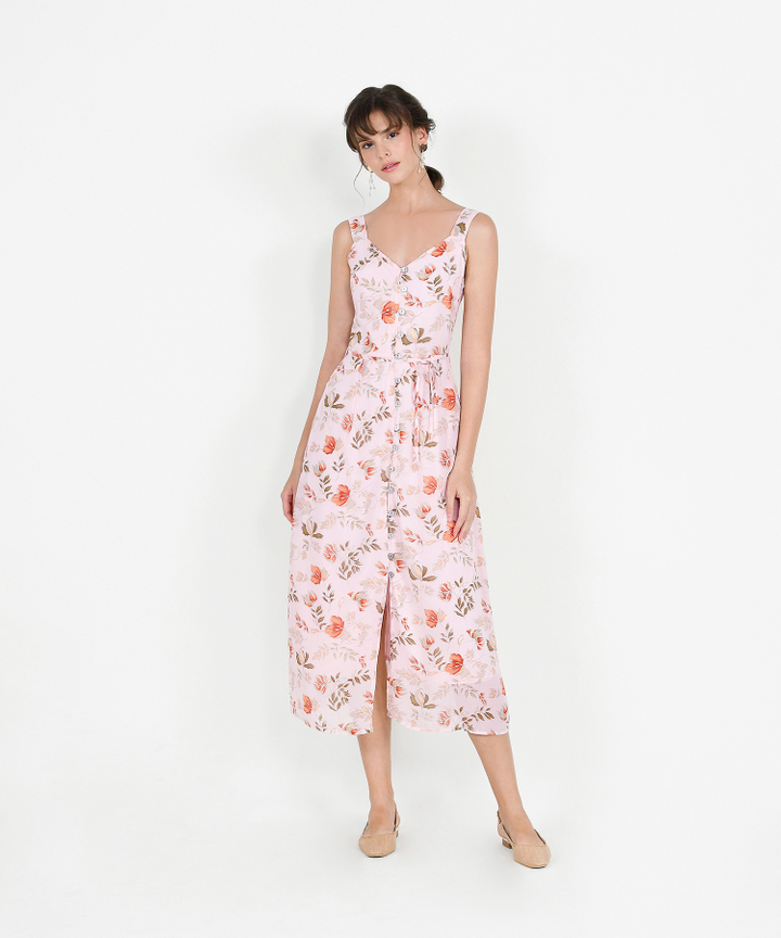 Loretta Floral Button Down Maxi - Pale Pink