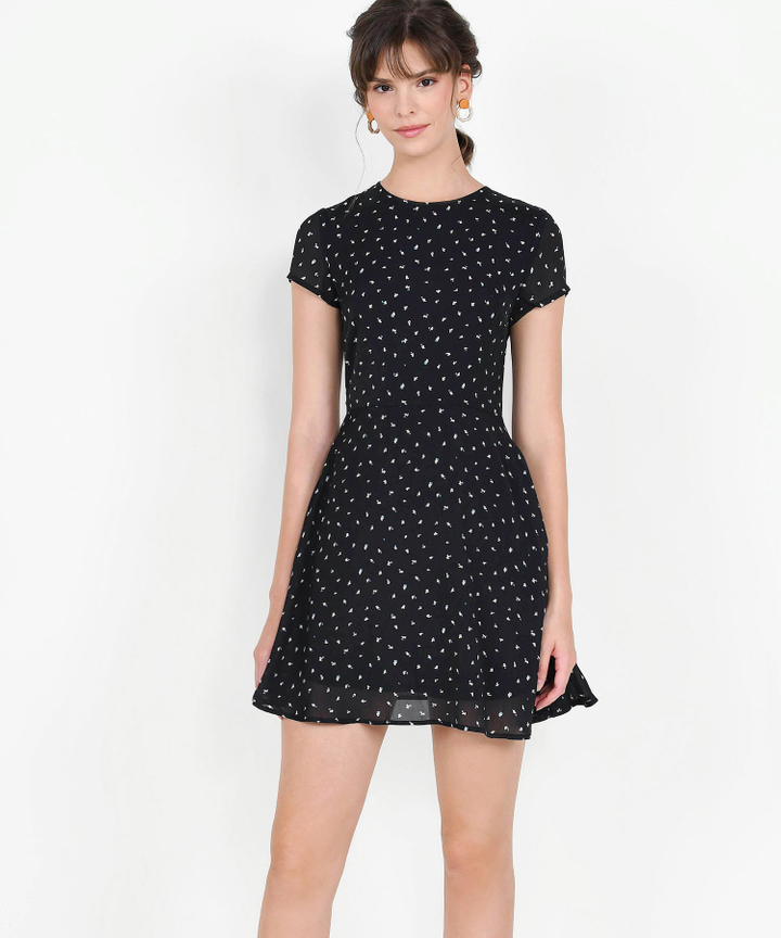 Natalia Printed Mini Dress - Black