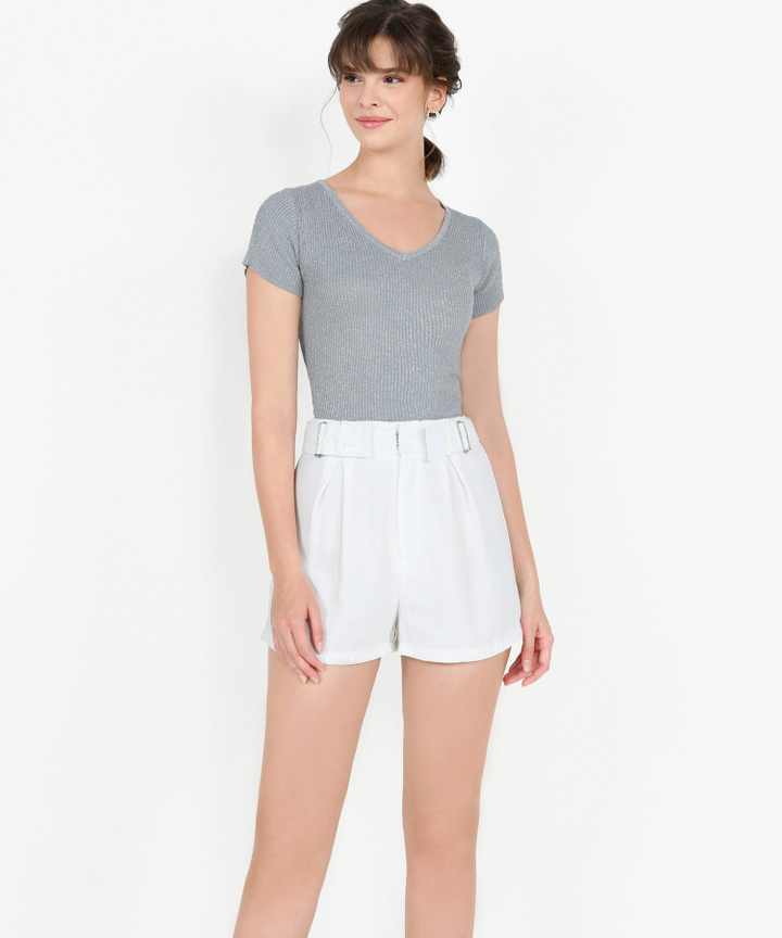 Iris Shimmer Knit Top - Silver