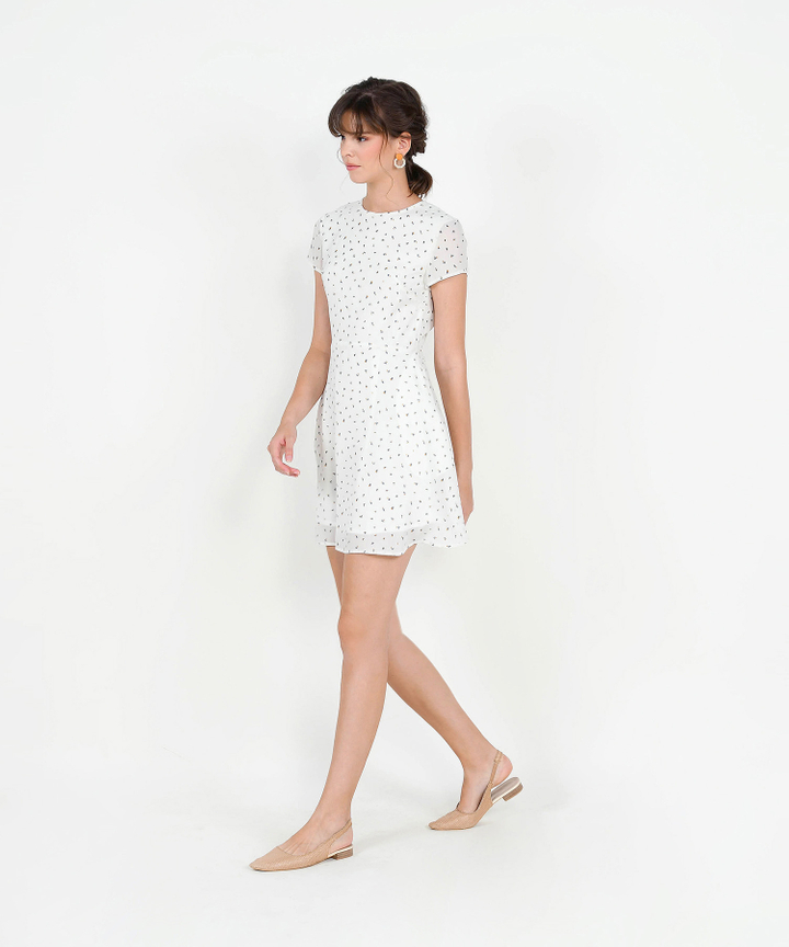 Natalia Printed Mini Dress - White