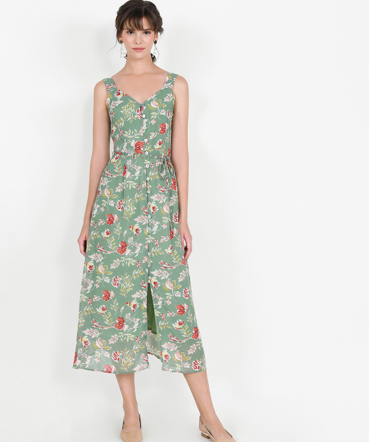 Loretta Floral Button Down Maxi - Jade