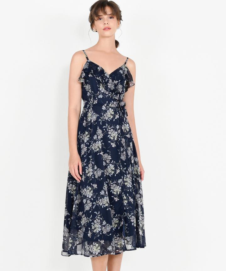 Emmeline Floral Overlay Midi - Midnight Blue