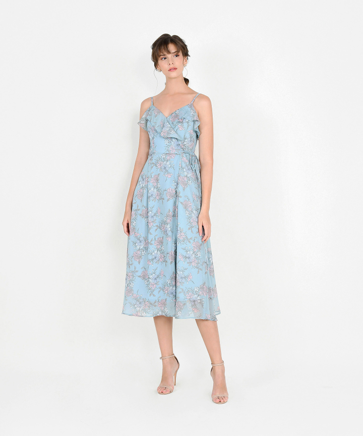Emmeline Floral Overlay Midi Dress - Pale Blue
