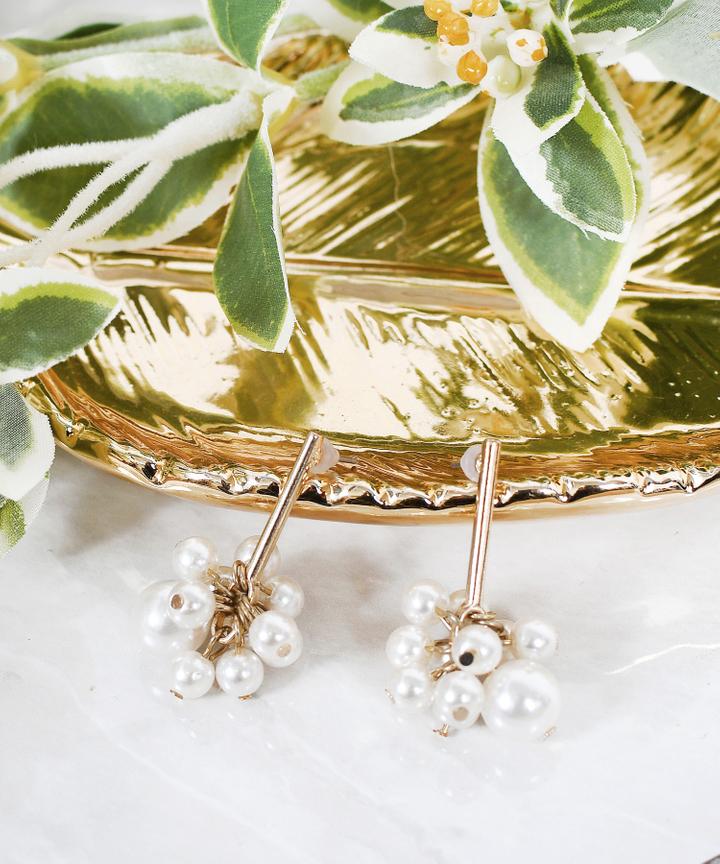 Oslo Pearl Cluster Drop Earrings