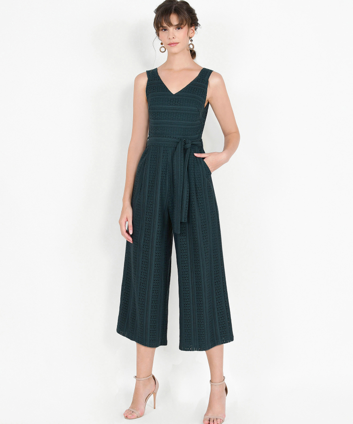 Cecilia Eyelet Jumpsuit - Forest Green