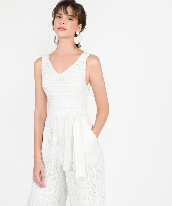 Cecilia Eyelet Jumpsuit - White