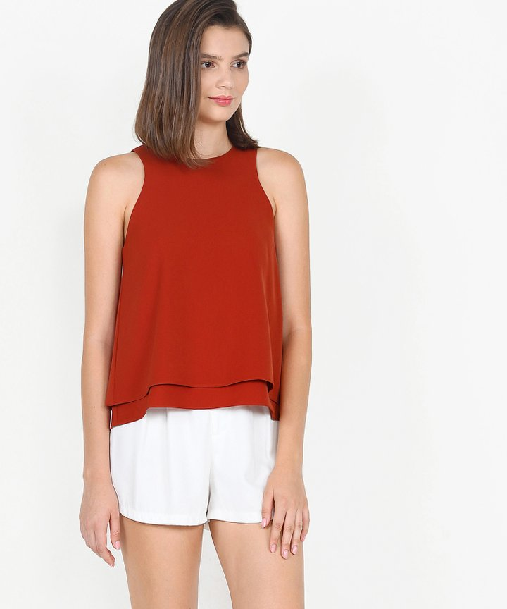 Hailey Flounce Tiered Top - Vermillion