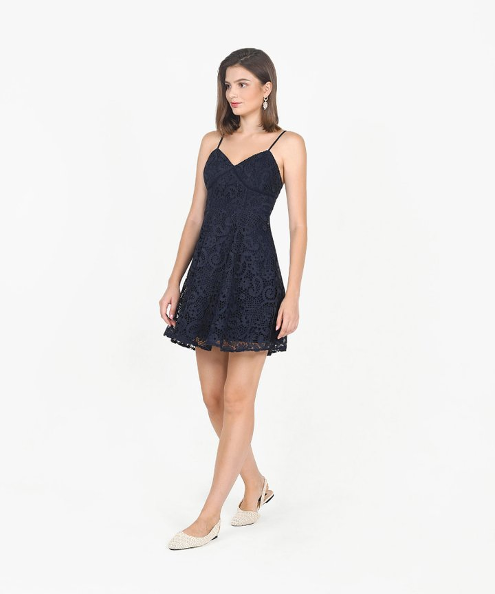 Edith Crochet Dress - Midnight Blue