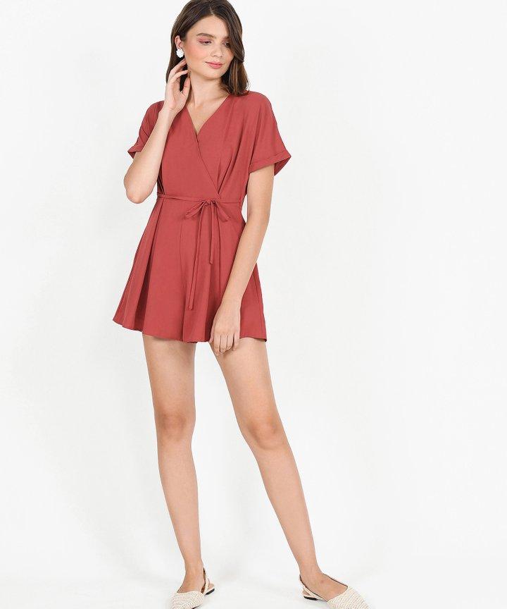 Minami Kimono Playsuit - Dust Crimson