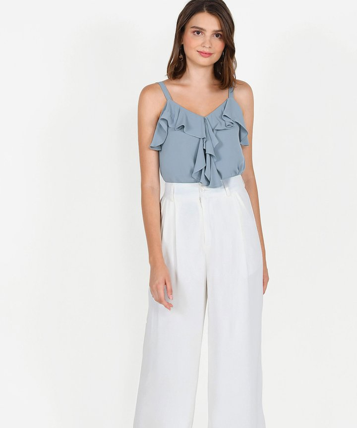 Keira Ruffle Top - Mist Blue