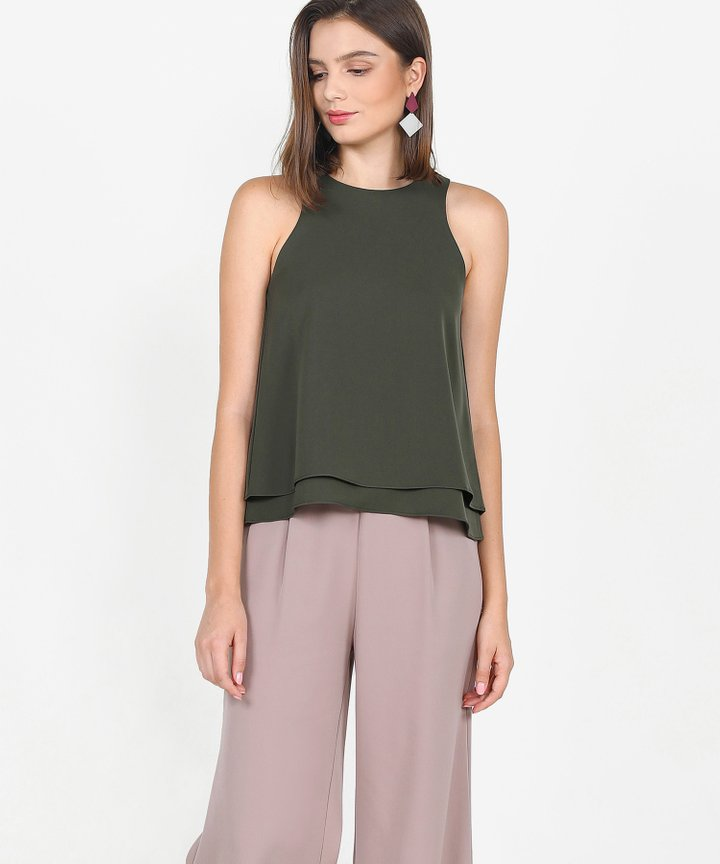 Hailey Flounce Tiered Top - Olive