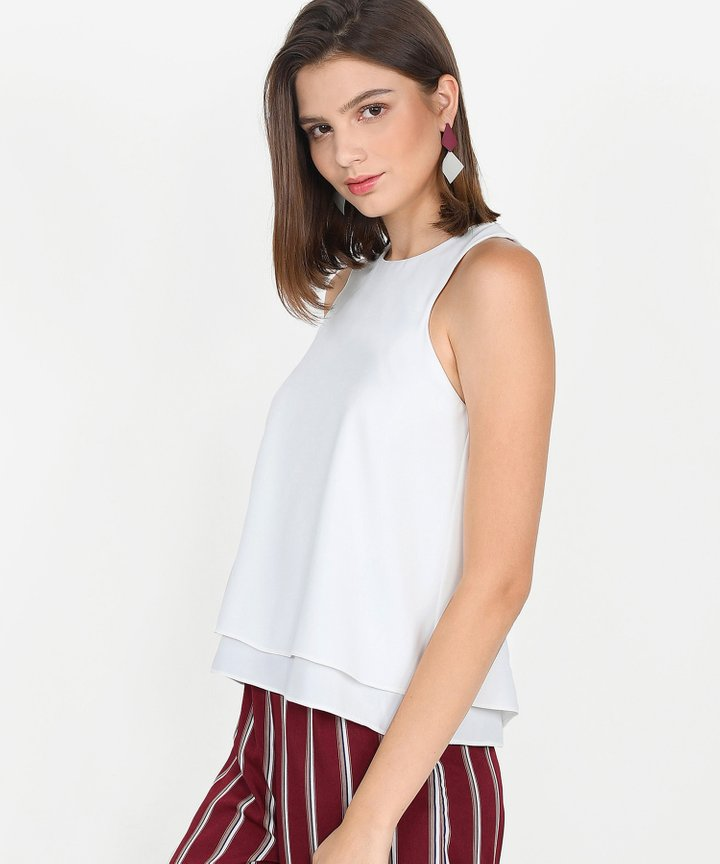 Hailey Flounce Tiered Top - White