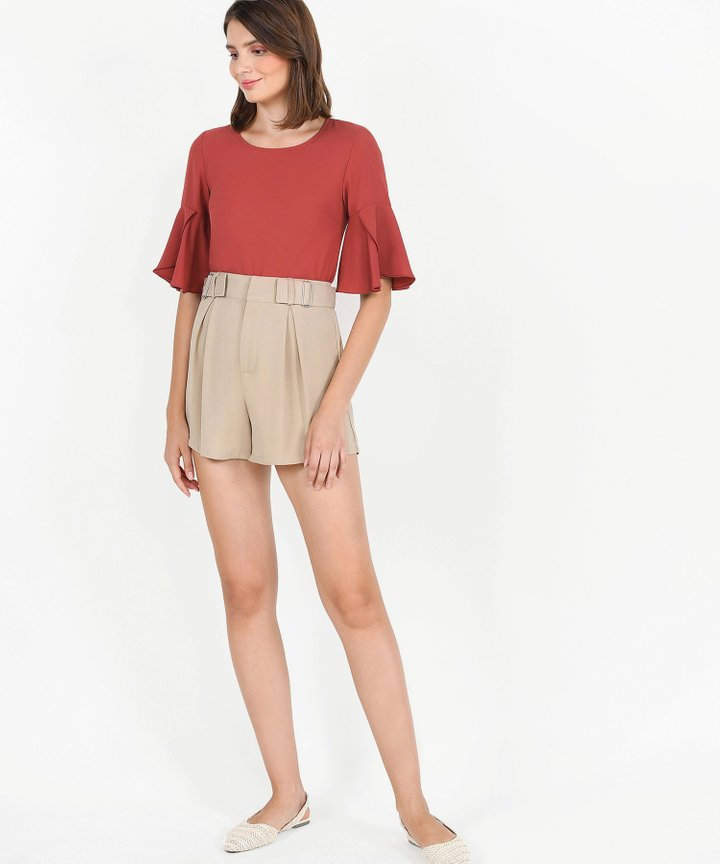 Tulip Sleeve Blouse - Dust Crimson