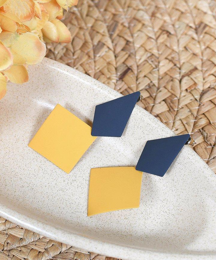 Solstice Duo-Tone Earrings - Mustard
