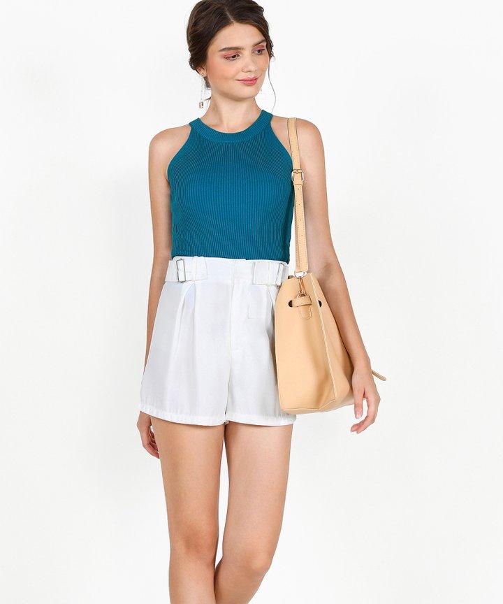 Steele Halter Knit Top - Teal Blue