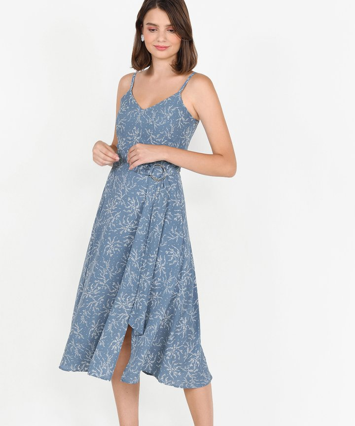 Montana Floral Belted Midi - French Blue