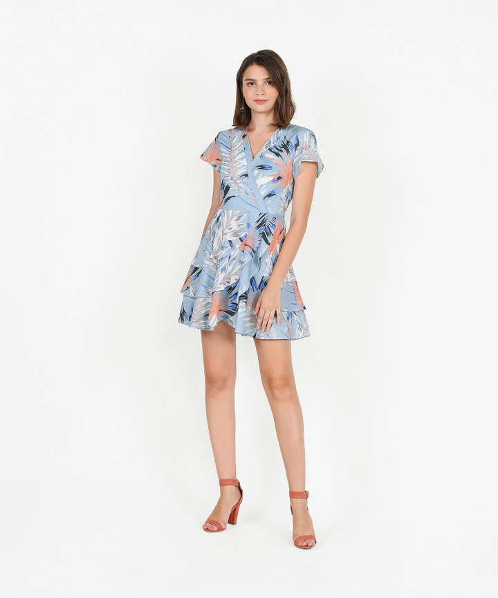Rhapsody Abstract Overlay Dress - Pale Blue