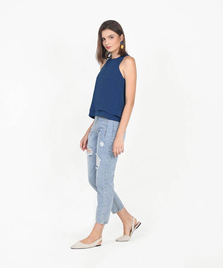 Hailey Flounce Tiered Top - Lucerne Blue