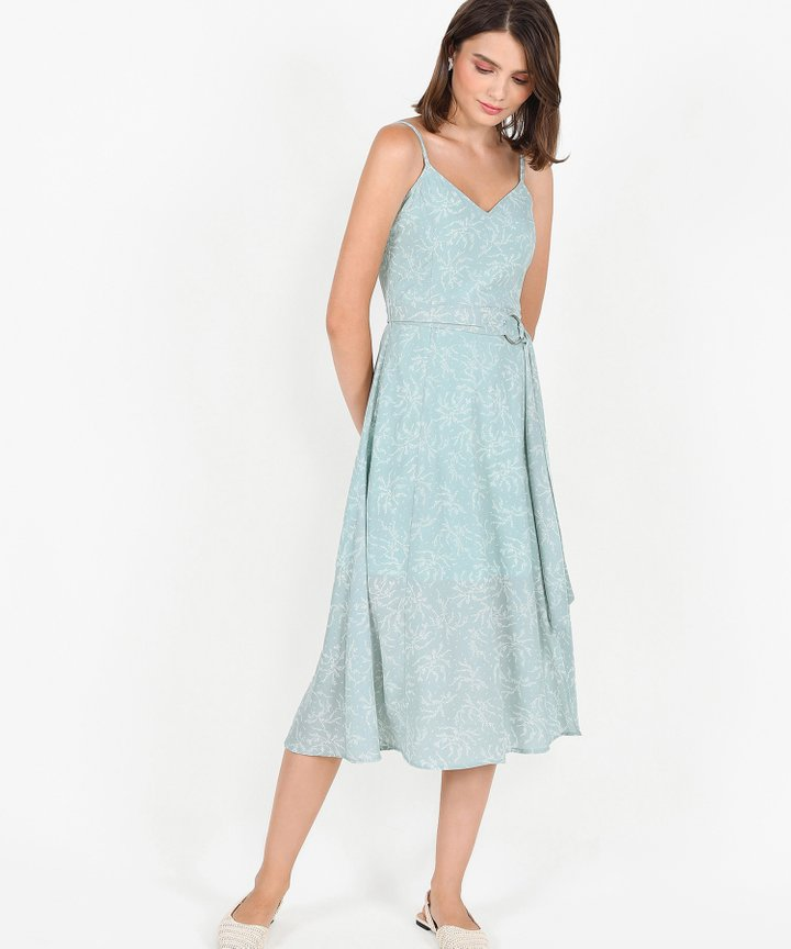 Montana Floral Belted Midi - Spring Mint