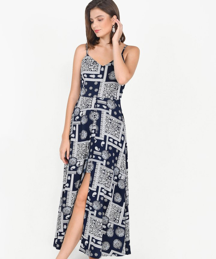 Harper Printed Maxi - Midnight Blue