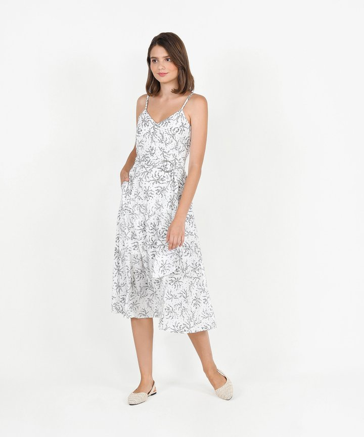 Montana Floral Belted Midi - White